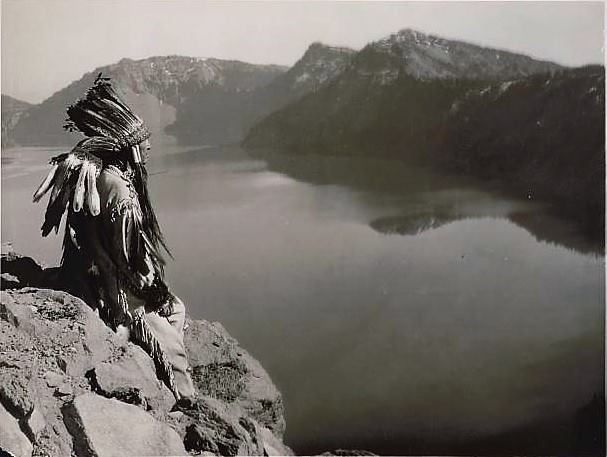 Klamath Chief at Crater Lake. Giiwas (Gia-wass) to the Klamath Tribes. 1923