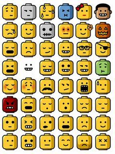 Feelings expressed through Lego heads, could be useful for engaging i treat in work on feelings.