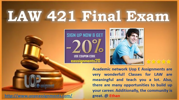 UOP E Assignments tutor help you to prepare for LAW 421 final exam by giving you up-to-date study guide like  LAW 421 final exam answers, Uop LAW 421 final exam answers, LAW 421 final exam questions, Business LAW 421 final exam answers, assumption of risk is a defense to, which of the following would be considered intangible property 2016 questions and answers at affordable cost. http://www.uopeassignments.com/Blog/University-of-Phoenix-LAW-421-Final-Exam-2016-Best-Question-Answers.html