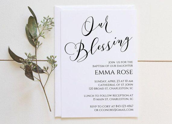 Baptism Invitation Printable Our Blessing por AngelaMarieMade