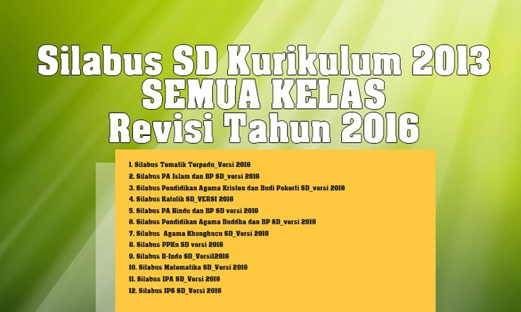 Silabus SD Kurikulum 2013 Semua Kelas Revisi Tahun 2016 Lengkap
