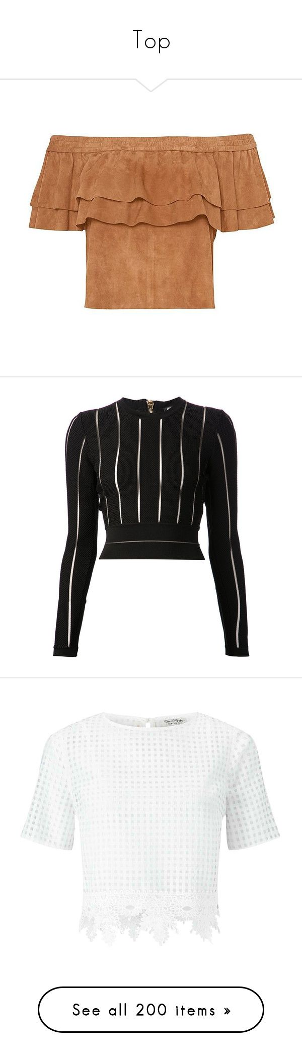 """""""Top"""" by laumariborche ❤ liked on Polyvore featuring tops, shirts, crop tops, blouses, blusas, off the shoulder shirts, ruffle crop top, beige crop top, ruffle top and off the shoulder ruffle top"""