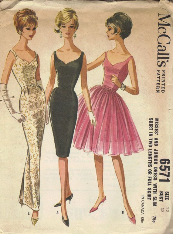 McCall's 1960s Sewing Pattern Cocktail Dress Evening Gown Wiggle Ballerina Skirt Sheath Sweetheart Neck Low V Back Bust 34