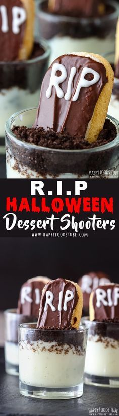 These RIP Halloween dessert shooters are perfect for your Halloween party. Oreo pudding soil, chocolate grave stones & royal icing RIP inscription. Easy Halloween desserts for parties. #halloween #dessert #shooters via @happyfoodstube
