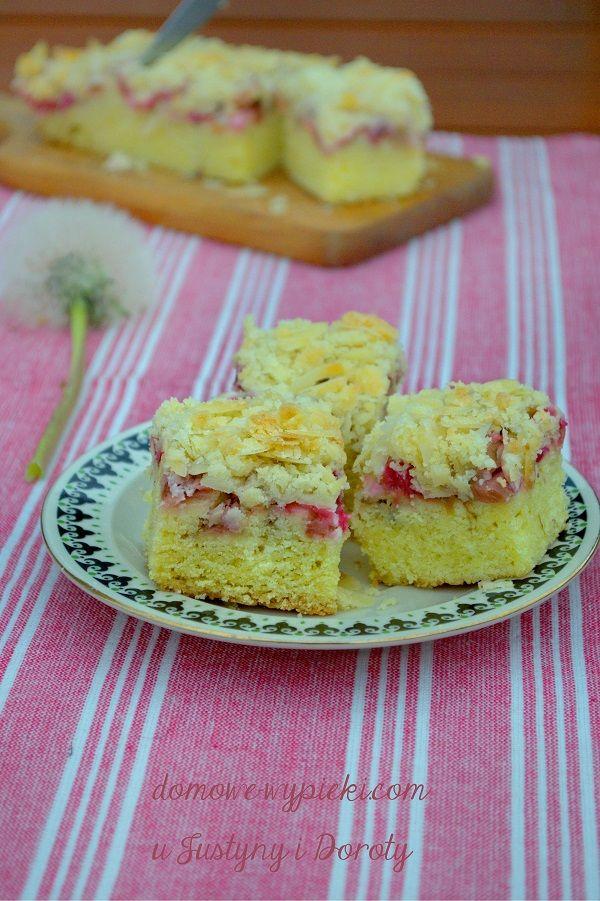 Ciasto z rabarbarem i kruszonką   Domowe Wypieki