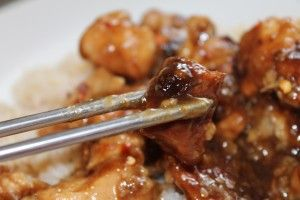 Crock Pot Sesame Chicken. Yummy! I placed frozen tenders in the fridge overnight then cut the part frozen chicken into bite-sized pieces with kitchen scissors. Easy! Changes: I used half the soy sauce, twice the sesame seeds and skipped the ginger. Delicious!