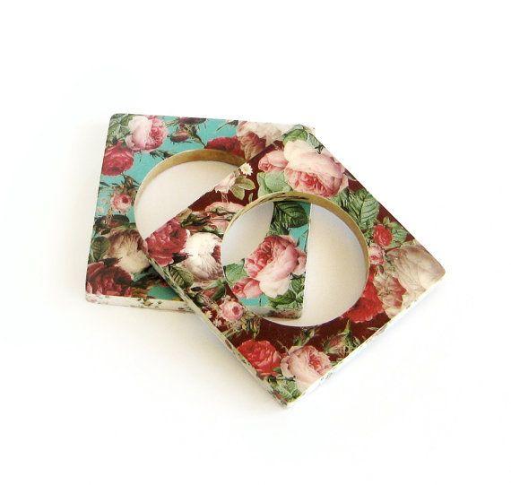 Bold square bracelet Statement floral bracelet Victorian roses Decoupage Chunky bangle Geometric jewelry Bold Jewelry