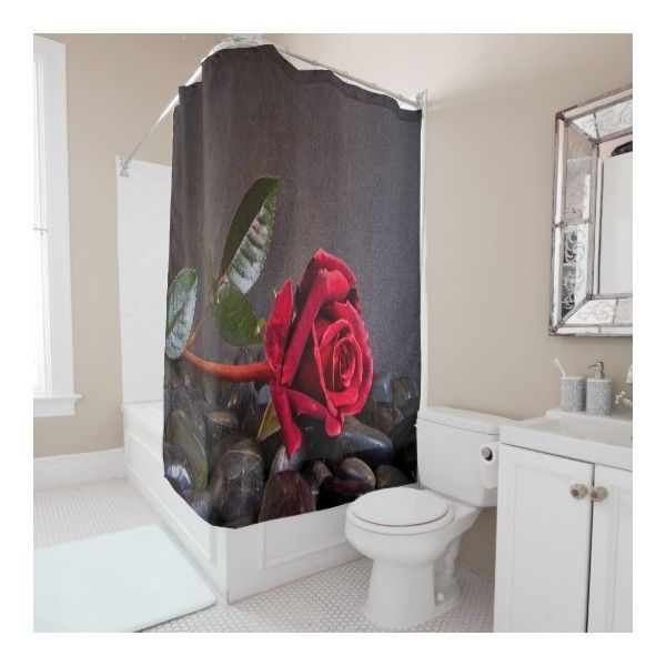Rose On The Rocks Shower Curtain ($82) ❤ liked on Polyvore featuring home, bed & bath, bath, shower curtains and red shower curtains