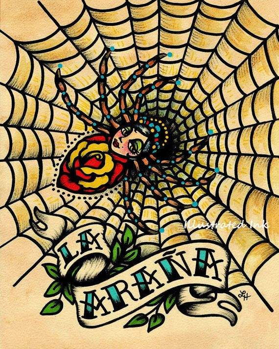 Old School Tattoo Art Spider LA ARANA Loteria Print 5 x 7 or 8 x 10