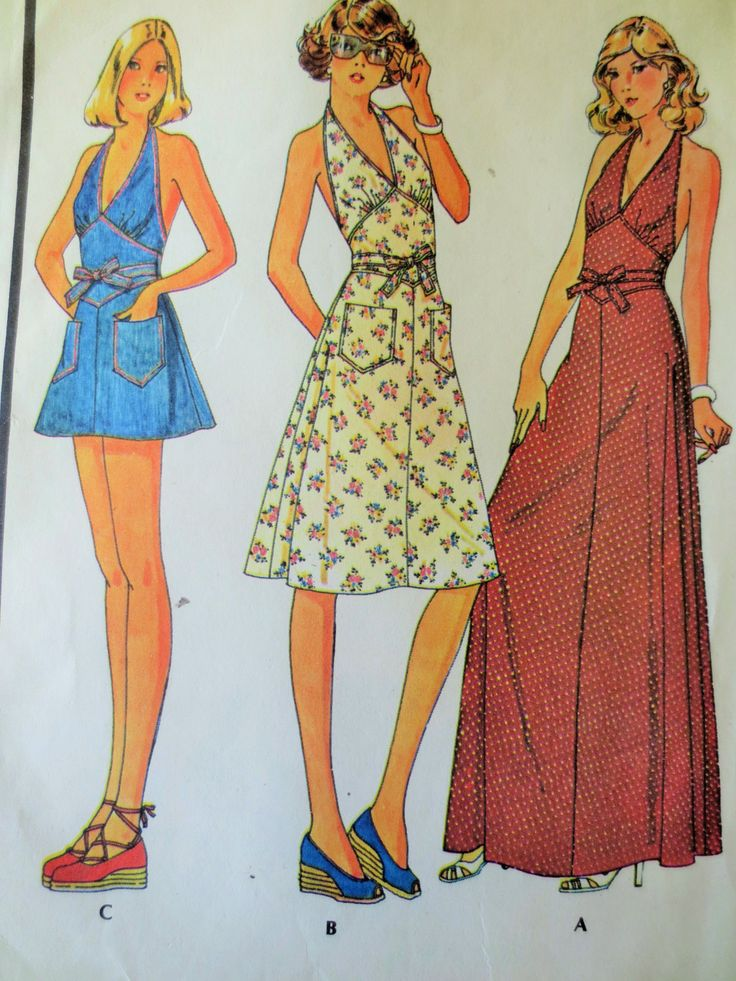 Vintage McCall's 4486 Sewing Pattern, 1970s Dress Pattern, Halter Dress, Maxi Dress, Back Wrap, Apron Dress, Shorts Pattern, Bust 32.5 by sewbettyanddot on Etsy