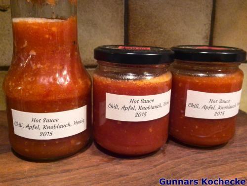 Hot Sauce mit Chili, Apfel, Knoblauch und Honig - #Rezept