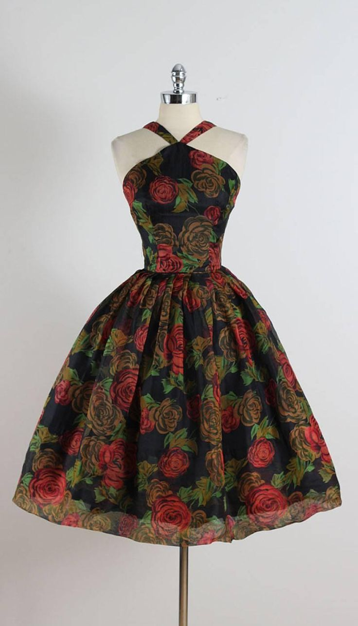 Vintage 1950s Rose Print Halter Dress 8