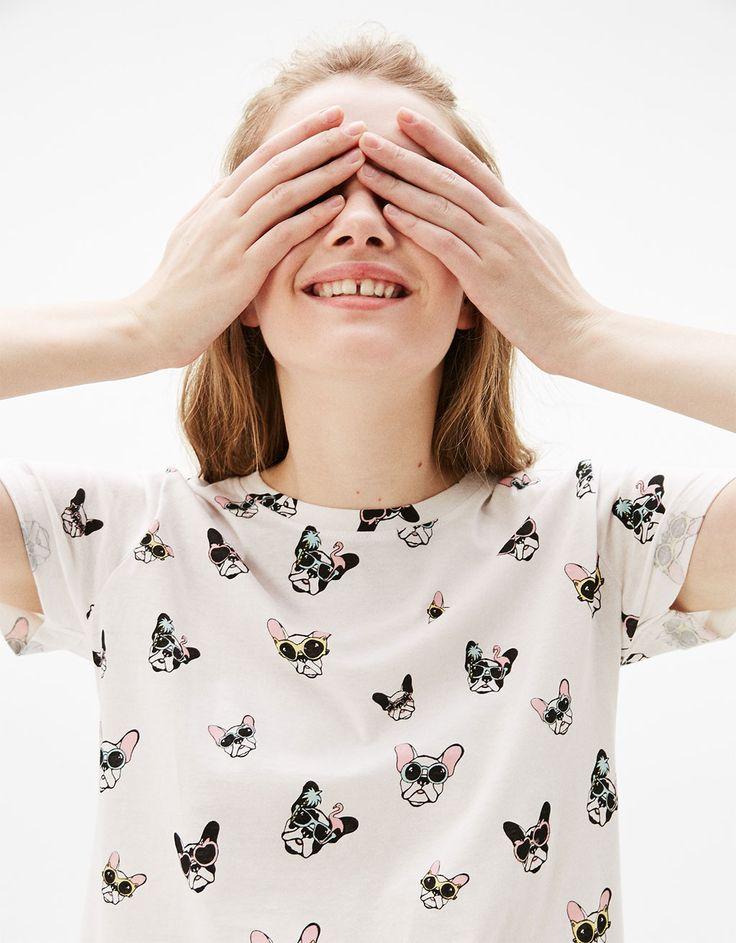 All-over print cotton T-shirt - T-Shirts - Bershka Turkey
