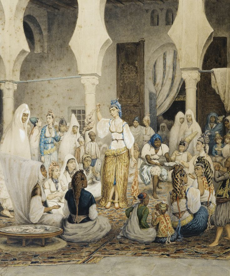 Durand FRENCH SCHOOL OF NINETEENTH CENTURY DANSEUSE ET MUSICIENNES *** DURAND; DANCER AND MUSICIANS; SIGNED, SITUATED AND DATED LOWER LEFT ALGER 1840 (?); WATERCOLOR ON PAPER; SEE ILLUSTRATION ON PREVIOUS PAGE Signed, located and dated lower left Durand Algiers in 1840 (?)  Watercolour on paper  48 x 39.5 cm; 18 7/8 by 15 1/2 in: