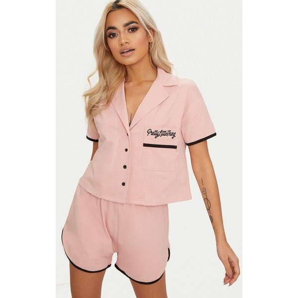 Pale Pink Pretty Little Thing Embroidered Short PJ Set (€21) ❤ liked on Polyvore featuring intimates, sleepwear, pajamas, pale pink, short pajamas, cotton pyjamas, cotton pjs, cotton pajamas and cotton sleepwear