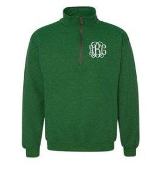 Monogram Fleece Pullover 14 Zip Monogram Pullover Sweater  Gift for Her  Gift Under 30 Monogram Quarter Zip Monogram Sweatshirt