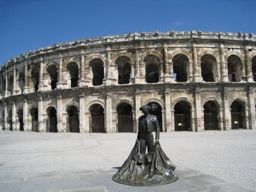 Nimes, France... stayed right a cross a plaza from this arena. Ah, the memories!