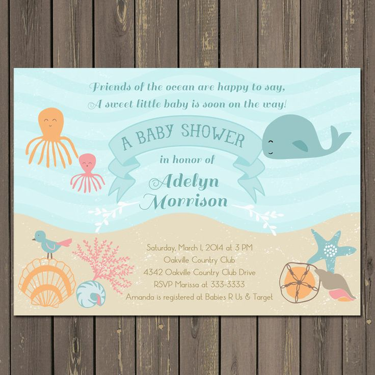 Ocean Baby Shower Invitation, Under the Sea Baby Shower Invite, Sea Baby Shower, Whale, Octopus, Shells, Beach, Gender Neutral by PartyPopInvites on Etsy https://www.etsy.com/listing/180773655/ocean-baby-shower-invitation-under-the