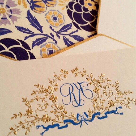 Engraved monogram floral bower design by The Grosvenor Stationery Company