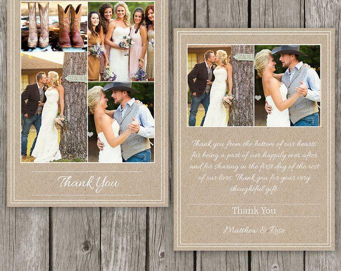 Wedding Thank You Card Template - Kraft Rustic Thank You Note - Thank Yous Notecard - TY01