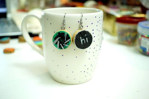Recycled Wine Cork Earrings - Two Sided - Silver Hi on Black and Siler Lines on Green