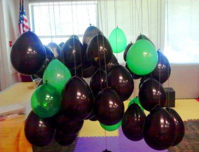 Superhero training academy.  Kids go through the maze of balloons, but can't touch the kryponite green ones!!! Oh-Yeah