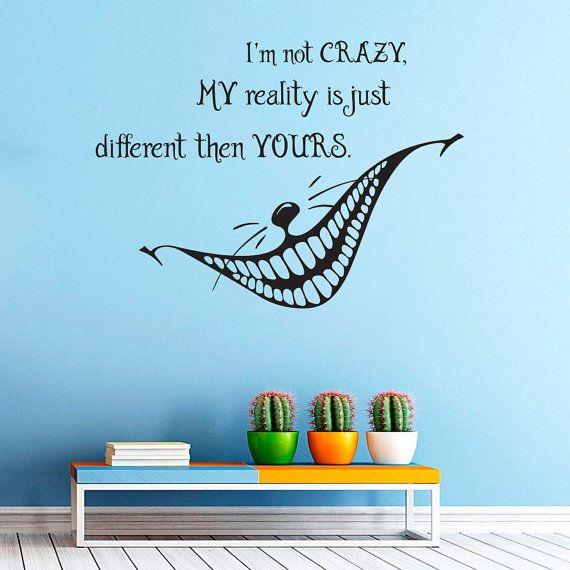 Alice in wonderland wall decal cheshire cat by lollipopdecals