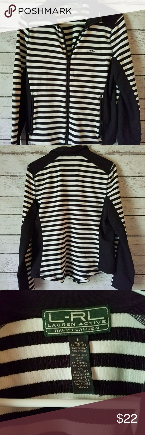 Black and white striped zip up sz large Ralph Laur Cute zip up black and white by Ralph Lauren size large. Very good condition. Please contact me with any questions. Ralph Lauren Tops