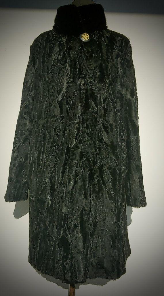 Fur coat/ Real fur/ Karakul fur with mink collar/ Black or brown color