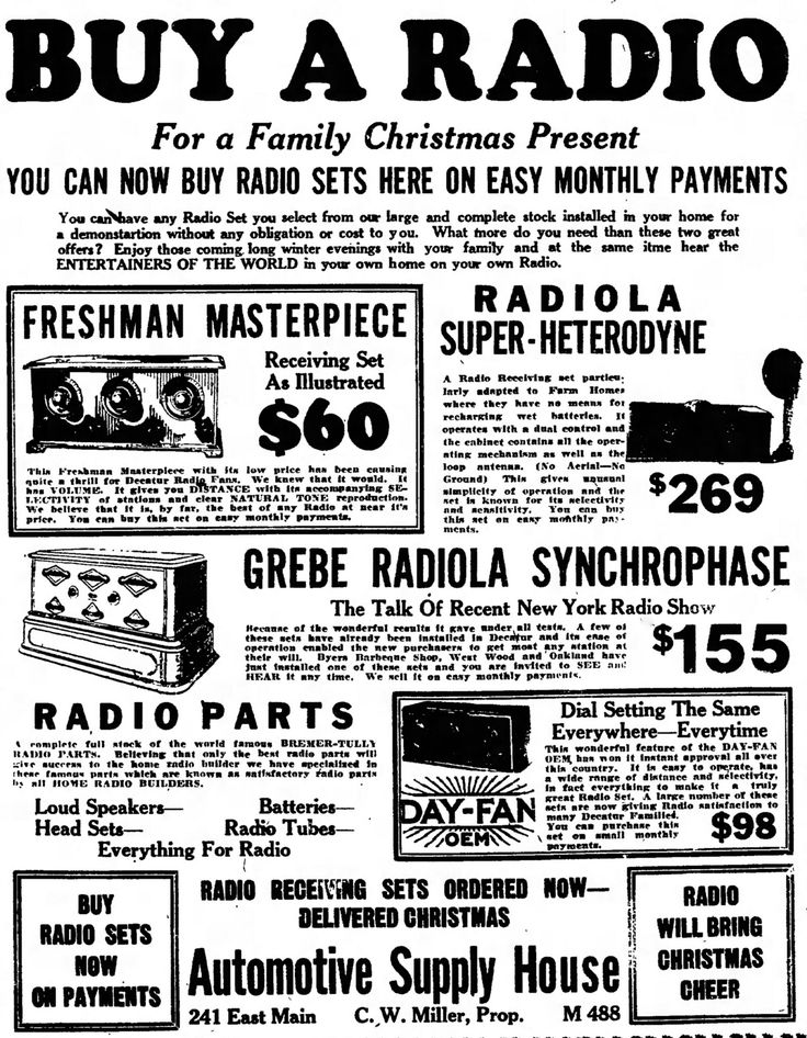 https://flic.kr/p/qr6zdS | The Golden Age Of Radio - Vintage Radio Advertising In The Decatur Illinois Daily Review Newspaper, December 10, 1924