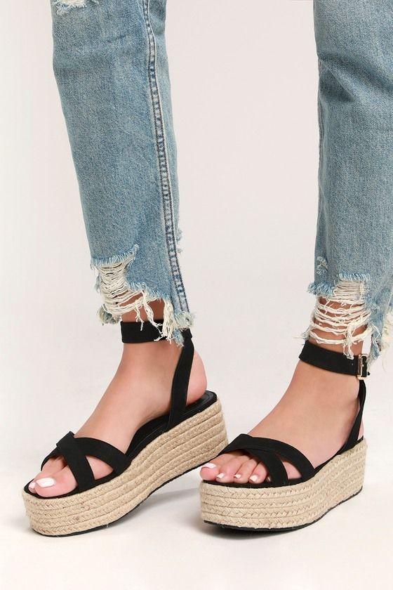 5d504263772 Cute Black Espadrilles - Espadrille Sandals- Platform Sandals