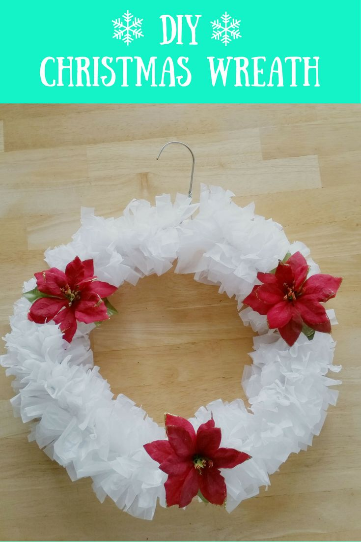 DIY Christmas Wreath made from plastic trash/bin bags and a wire hanger.  No need to go shopping for supplies!