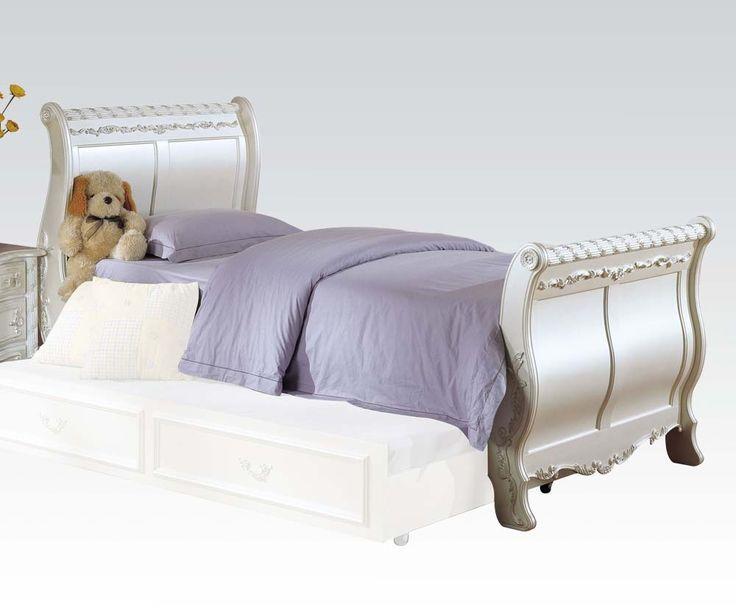 pearl white full sleigh bed