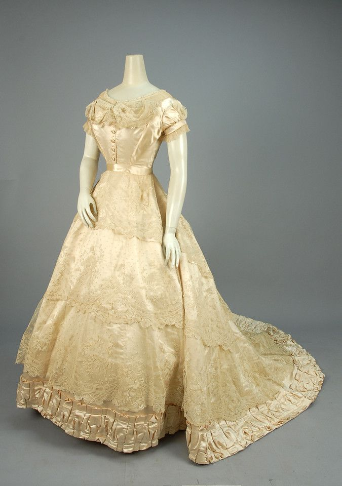 Paris label silk and lace wedding dress 1866 2 piece for Wedding dress with swag sleeves