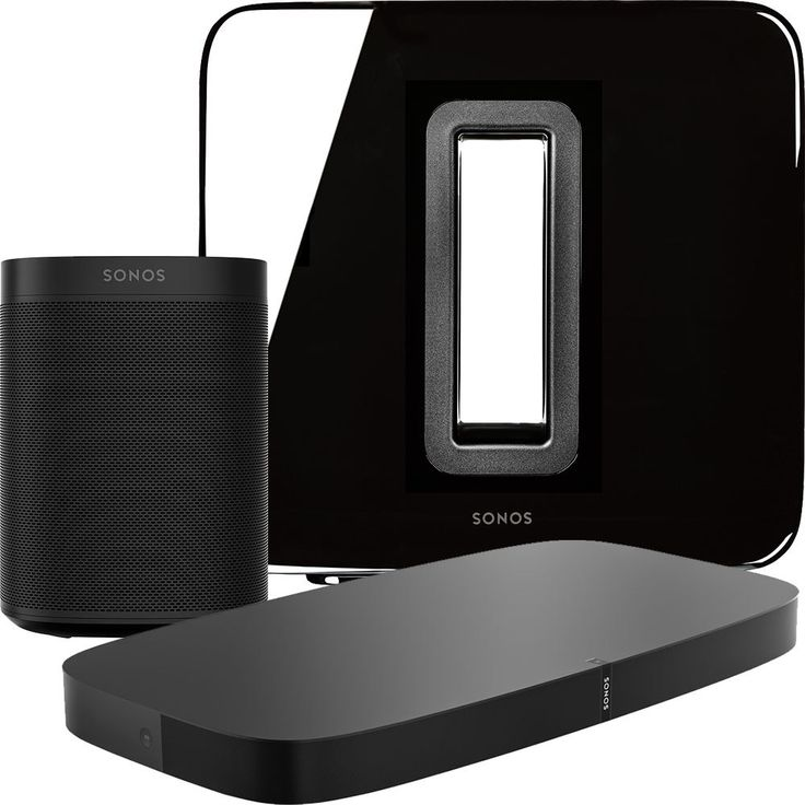 Sonos - 5.1-Channel Wireless Home Theater System with Sonos One Speaker Pair, Playbase and SUB - Black