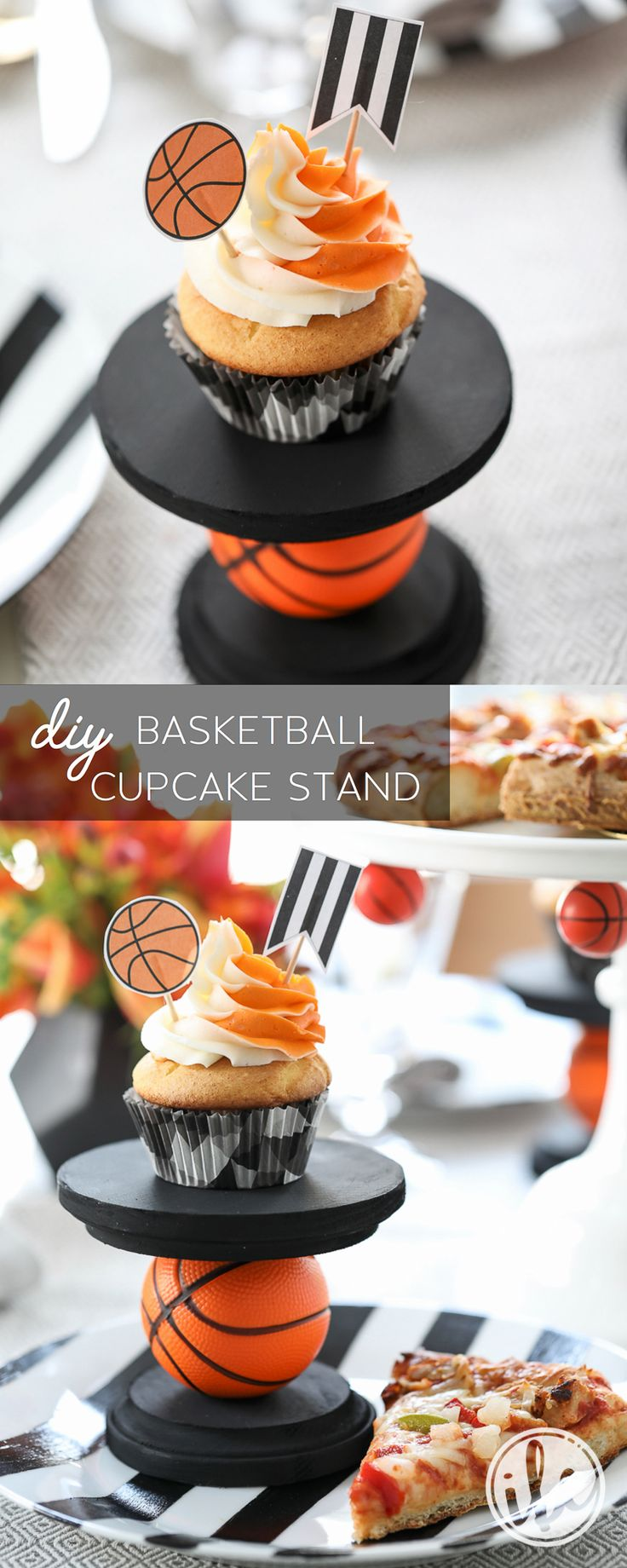 DIY Basketball Party entertaining ideas - cupcake stand - sports party with @digiorno Pizza! #RiseToTheOccasion #partner