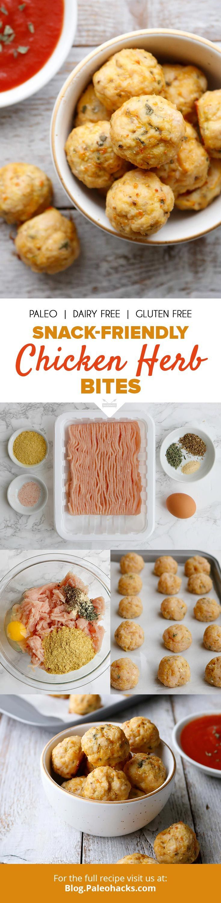 """Cure a case of the munchies with these """"cheesy"""" chicken herb bites! Get the full recipe here: http://paleo.co/chickenbites"""
