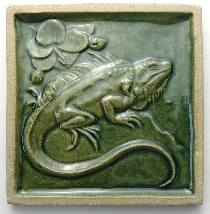 "Iguana Art Tile, transparent copper glazed, 6 3/16"" square. $75.00, via Etsy."