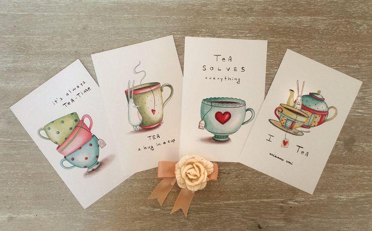 Cartoline Tè - set di 4 di AriLand su DaWanda.com