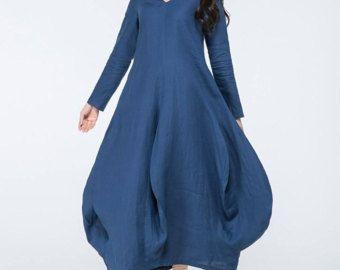 blauwe linnen jurk, blauwe tuniek, v-hals jurk, blauwe maxi jurk, lange mouwen jurk, plus grootte tuniek, losse pasvorm jurk, aangepaste jurk C1059
