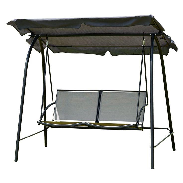 Costway Patio Loveseat Canopy Swing Glider Hammock Cushioned Steel, Grey, Patio Furniture