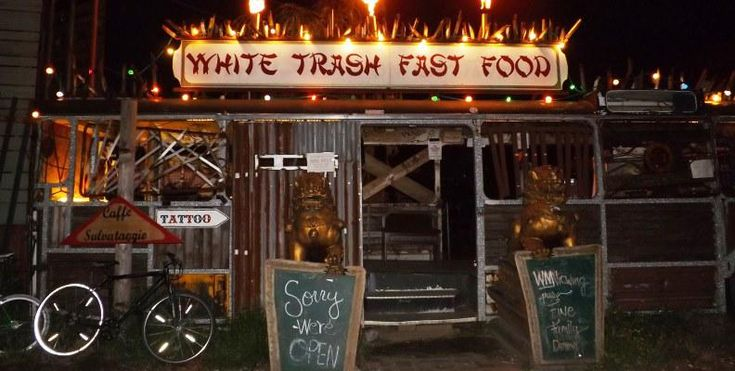 """White Trash says that they serve """"exotic food in housewife style""""."""