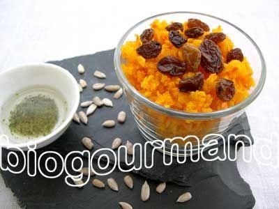 Taboulé de potimarron cru et raisins secs - Biogourmand   Recette végétalienne - Vegan recipe