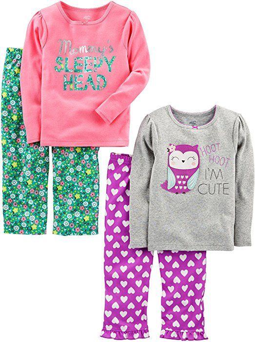 d07ad2b600bf Amazon.com  Simple Joys by Carter s Girls  Toddler 4 Piece Pajama ...