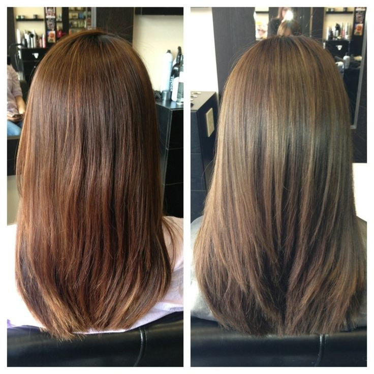 Heavy Balayage Highlights To Change A Brassy Color To A