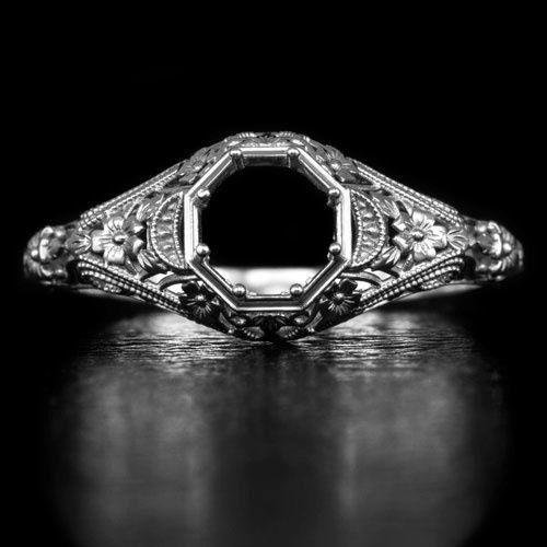 Platinum Vintage Art Deco Inspired Engraved Filigree