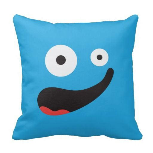 Blue Silly Face Pillow