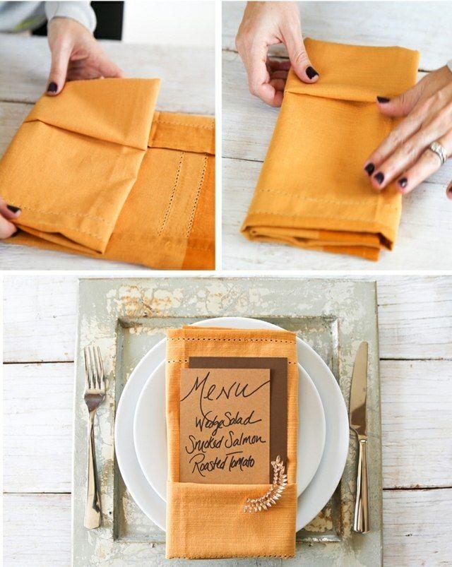 pliage de serviettes facile en pochette: 3 étapes simples