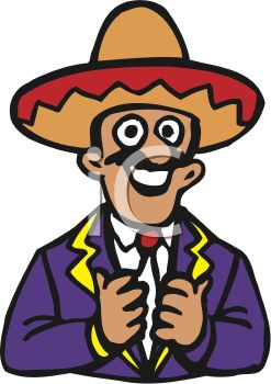 iCLIPART - Royalty Free Clipart Image of a Man Wearing a Sombrero Smiling