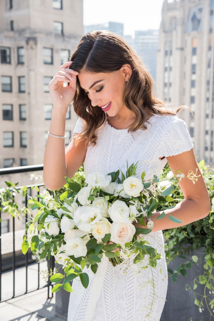 Modern Rooftop Elopement Inspiration With Chic Wedding Day